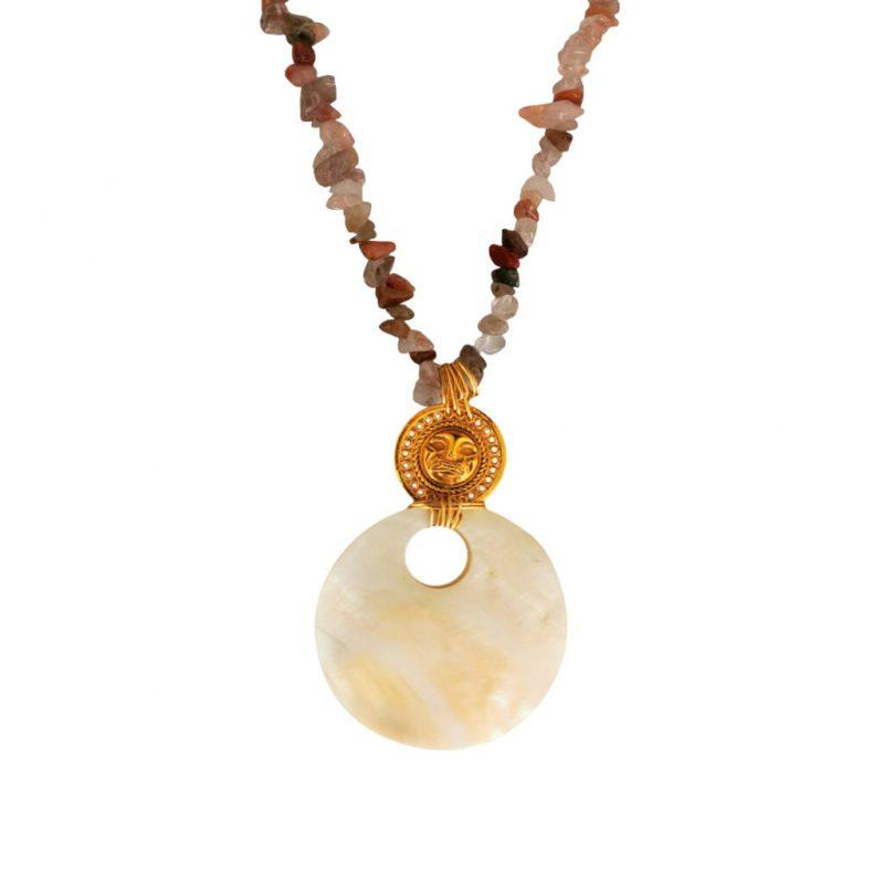 collier femme quartz félin pérou dorée